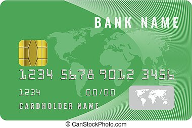 Realistic credit card design template with a chip frontside view mock up. Geen color.