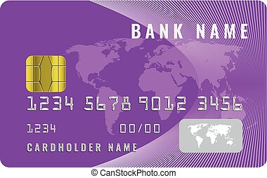 Realistic credit card design template with a chip frontside view mock up. Purple color.