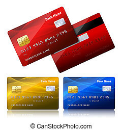 Realistic credit card with security chip - Front and back...