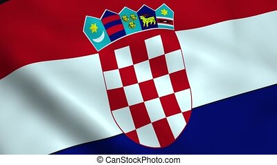 Realistic Croatia flag