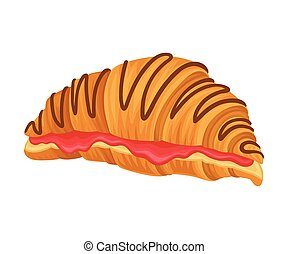 Realistic Croissant with Sweet Stuffing Vector Illustration...