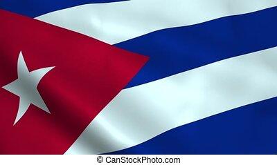 Realistic Cuba flag waving in the wind. Seamless looping.