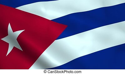 Realistic Cuba flag waving in the wind. Seamless looping.