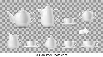 Realistic cups and pots of tea and coffee set