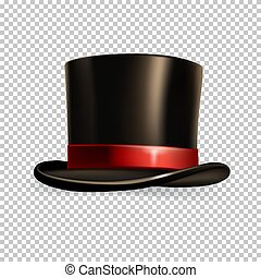 Realistic cylinder hat isolated on transparent background. Vector illustration.