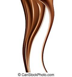 Realistic dark chocolate drips. Pouring chocolate