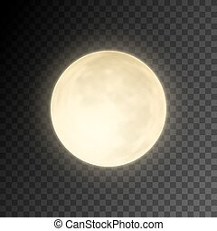Realistic deatailed full moon isolated on transparent background. Eps10 vector illustration, easy to use.