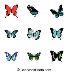 Realistic Demophoon, Pipevine, Sangaris And Other Vector Elements. Set Of Butterfly Realistic Symbols Also Includes Bluewing, Morpho, Butterfly Objects.