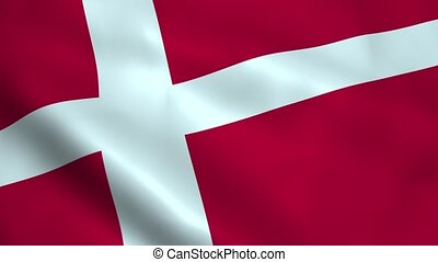 Realistic Denmark flag waving in the wind. Seamless looping.
