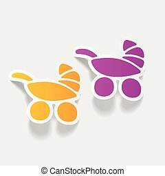 realistic design element: baby buggy