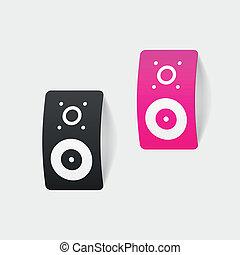 realistic design element: big music speaker
