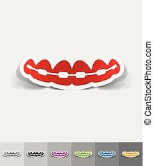 realistic design element. braces - braces paper sticker with...