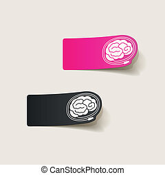 realistic design element: brain-usb, plug. Vector...