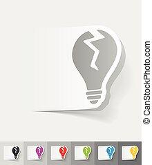 realistic design element. broken light bulb