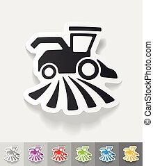realistic design element. combine-harvester -...