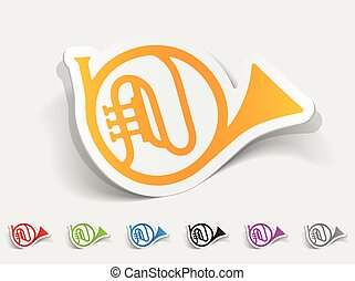 realistic design element. french horn