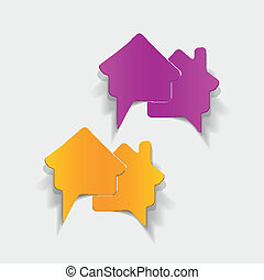realistic design element: house, bubble