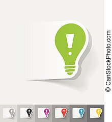 realistic design element. light bulb with an exclamation mark