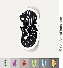 realistic design element. merlion - merlion paper sticker...