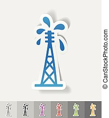 realistic design element. oil derrick - oil derrick paper...