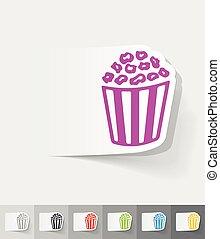 realistic design element. pop corn - pop corn paper sticker...