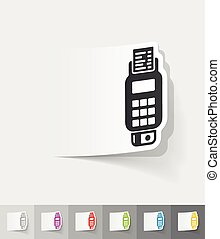 realistic design element. POS terminal - POS terminal paper...