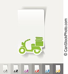 realistic design element. scooter - scooter paper sticker...