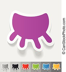 realistic design element. udder - udder paper sticker with...