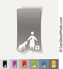 realistic design element. veterinarian and dog
