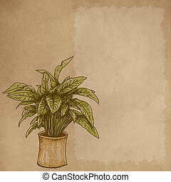 Realistic designs to the stretch of plants Cream bottom and writing space