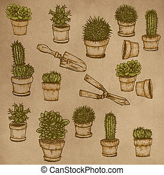 Realistic designs to the stretch of plants Garden flowers, plants, gardening tools