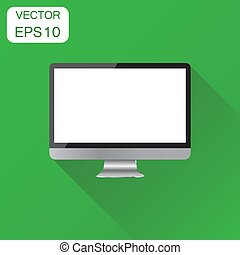 Realistic desktop computer monitor icon. Business concept monitor pictogram. Vector illustration on green background with long shadow.