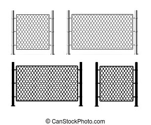 Realistic Detailed 3d and Silhouette Black Metal Fence Wire Mesh. Vector
