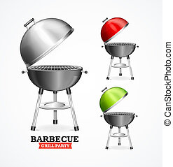 Realistic Detailed 3d Bbq or Barbecue Grill Set. Vector