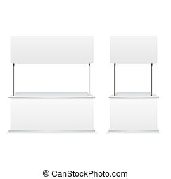 Realistic Detailed 3d Blank Promotion Stands. Vector