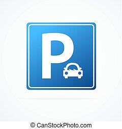 Realistic Detailed 3d Blue Parking Sign with Car. Vector