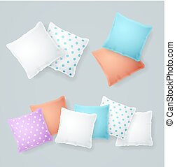 Realistic Detailed 3d Color and White Pillows Set. Vector