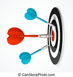 Realistic Detailed 3d Dartboard with Darts. Vector