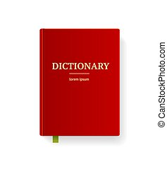 Realistic Detailed 3d Dictionary Book with Red Cover and Gold Letters. Vector