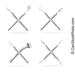 Realistic Detailed 3d Different Dental Tools Set. Vector