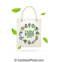 Realistic Detailed 3d Eco Tote Bag Farm Product. Vector -...