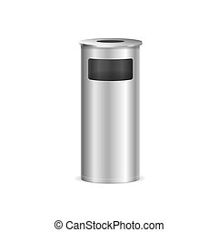 Realistic Detailed 3d Metal Trash Bin for Different Garbage. Vector illustration of Metallic Trashcan or Wastebasket
