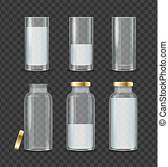 Realistic Detailed 3d Milk Bottle and Glass Set. Vector