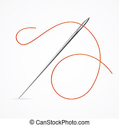 Realistic Detailed 3d Needle and Red Thread. Vector -...