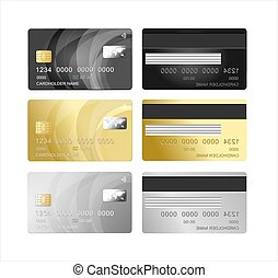 Realistic Detailed 3d Plastic Card Set. Vector