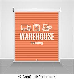 Realistic Detailed 3d Red Warehouse Shutter Door. Vector