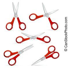 Realistic Detailed 3d Scissors Set. Vector
