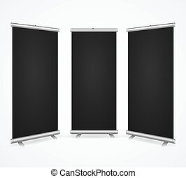 Realistic Detailed 3d Template Blank Black Scroll Banner Stand Mock Up Set. Vector