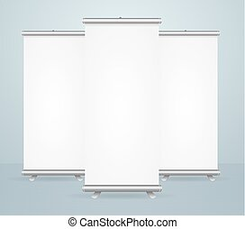 Realistic Detailed 3d Template Blank White Roll Up Banner Stand Mock Up Set. Vector