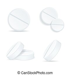 Realistic Detailed 3d Template Blank White Round Tabletes Set. Vector